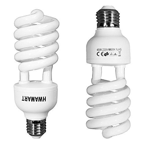2 x 45W E27 5500K Fluorescent Light Bulbs - Daylight Weiß Foto Fotografie CFL