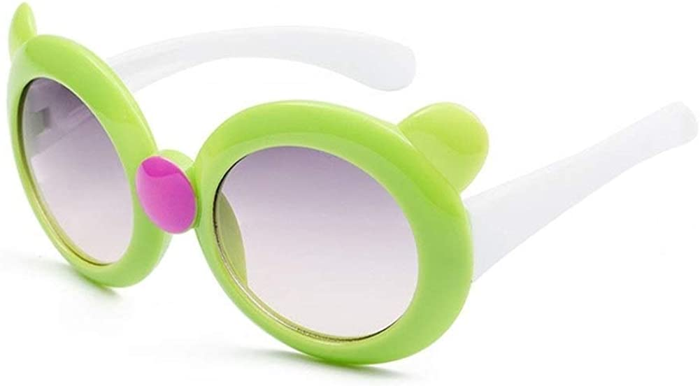 GAOXUFEI Round Frame Children's Sunglasses Cute Personality UV Protection Sunglasses Children's boy and Girl Outdoor Riding Glasses (Color : Green)