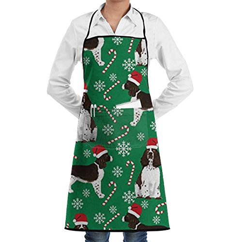Grembiule natalizio inglese Springer Spaniel Babbo Natale con tasche per donna, cuoco, cucina, ristorante, barbecue