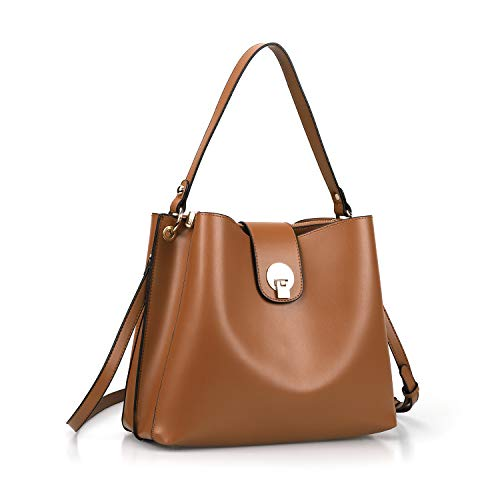 AFKOMST Bucket Bag and Purses for Women Hobo Bags,Designer Shoulder Handbags,Medium,Brown