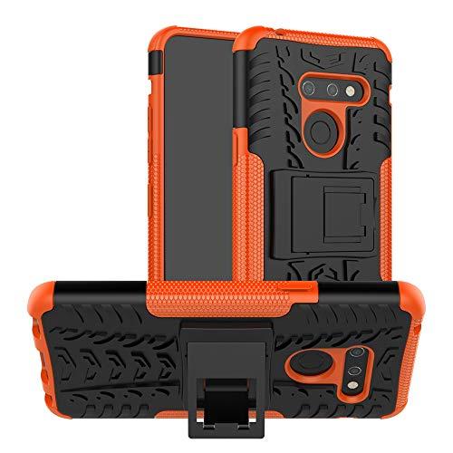 LFDZ LG G8 Funda, Soporte Cáscara de Doble Capa de Cubierta Protectora Heavy Duty Silicona híbrida Caso Funda para LG G8 Smartphone,Naranja