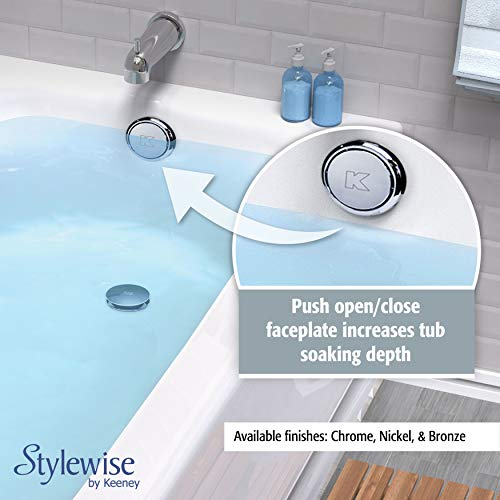 Keeney 630PVCFSBN Full Soak Bath Drain with Stylish Push Open and Close Overflow, Brushed Nickel