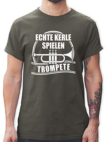 Instrumente - Echte Kerle Spielen Trompete - L - Dunkelgrau - t Shirt trompete - L190 - Tshirt Herren und Männer T-Shirts