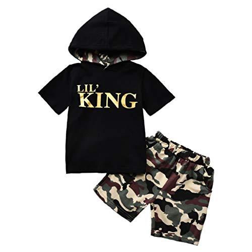 Baby Jungen Brief Drucken Kapuzenpullover Sweatshirt Tops + Tarnung Kurz Outfit Einstellen