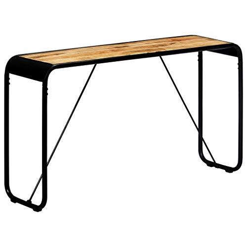vidaXL Legno Massello Mango Grezzo Tavolo Consolle Stile Industriale Robusto Elegante Tavolino Laterale Salotto Ingresso Telaio Ferro Verniciato Nero