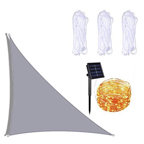 ZHUAN Parasol de Vela Triangular Derecho, toldo de Vela de jardín con iluminación LED y 3 Cuerdas, Resistente al Agua, 90% de Bloqueo UV, toldo de Patio para Patio al Aire Libre