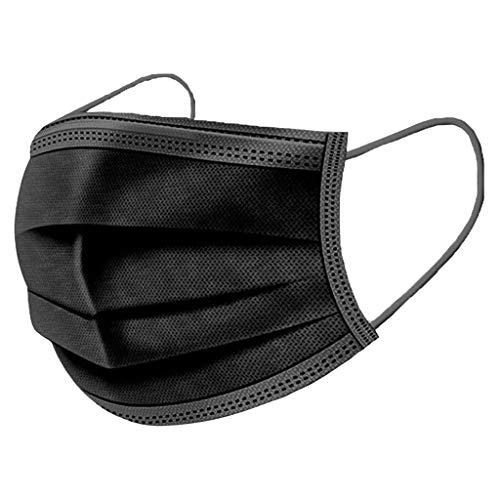 50 Stk Einmal-Mundschutz,mundschutz einweg, Dreischichtige Einweg mund und nasenschutz, mundschutz erwachsene,Atmungsaktive und komfortable elastische Ohrmuscheln Gesichtsschutz(Einzelpaket) (schwarz)