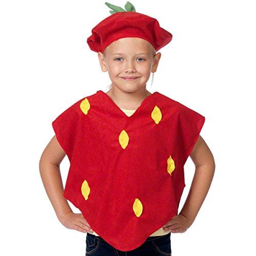 Charlie Crow Erdbeere Kostüm für Kinder - Einheitsgröße 3-8 Jahre.