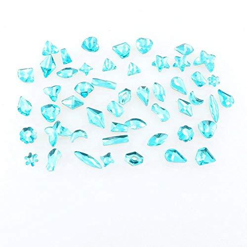 Formes mélanger 50 pcs/sac couleur aigue-marine verre à dos plat cristal strass applique colle sur pour nail art handimade artisanat bricolage garniture, aigue-marine, 50 Pcs