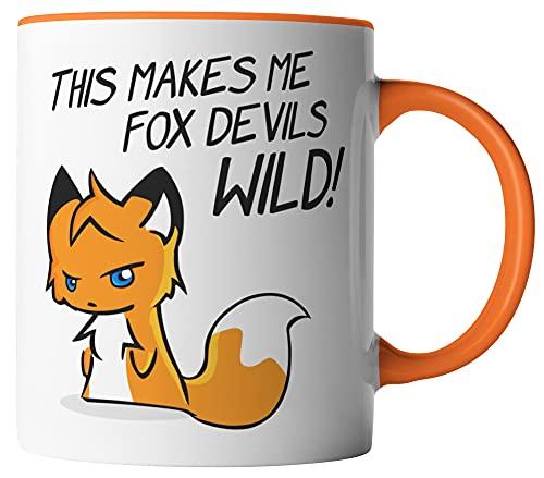 vanVerden Taza – Denglisch – This makes me fox devils wild! – Das macht mich Fuchs Wildild – zorro animal bosque – impreso por ambos lados – Idea de regalo taza de café, color blanco/naranja
