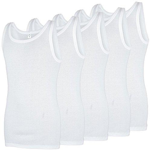 GÖTZBURG ® Unterhemden, 5er-Pack Achselhemden, Unterwäsche, 100% Baumwolle weiß, Feinripp (7 / (XL))