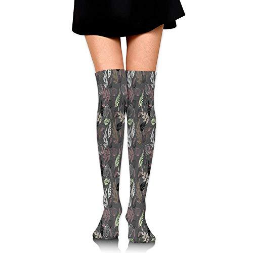 GYHJH Over Knee High Socks, Cartoon Fairy Tale Nanny mit magischem Regenschirm und Tasche fliegen über London Skyline, 60CM