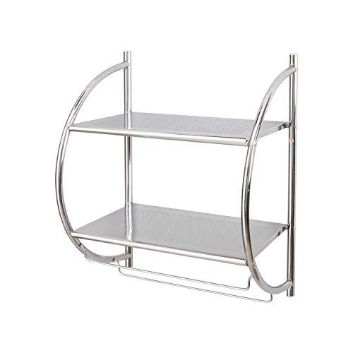 Organize It All 1753W-B Wall Mount 2 Tier Chrome Bathroom Shelf with Towel Bars...