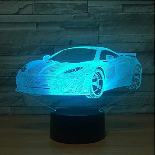 Cool Car Acrílico Lámpara de holograma 3D 7 Cambio de color Luz nocturna Interruptor táctil para bebés Luces de colores Lámpara de escritorio USB Led Lámpara de atmósfera