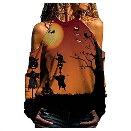 SHOBDW Barato Mujer Camisa Sexy Agujero Delgada Hombro de Fuga 2021 Diseño Unico Cabestro Chaqueta Cuello Redondo Pullover Sudadera Redondo Moda Sudadera Otoño Tops(Amarillo,XXL)
