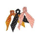 14 coleteros para el pelo vintage floral bufanda, corbatas para el pelo de gasa con lunares accesorios para el pelo cuerdas para mujeres
