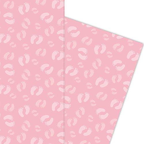 Kartenkaufrausch Süßes Baby Mädchen Geschenkpapier Set mit Füßchen für liebe Geschenkverpackung, 4 Bögen Musterpapier, Dekorpapier zum basteln 32 x 48cm, auf rosa