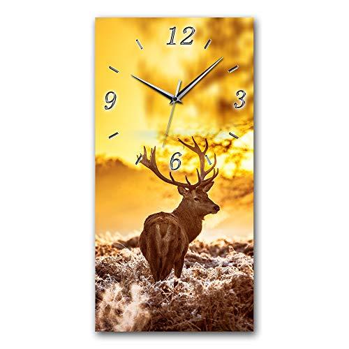 Bilder-Paradies Wanduhr Wanduhren Funkwanduhr Quarzwanduhr leises Uhrwerk kein Ticken handgefertigt in Deutschland Bild Bilder Wohnraumdekoration Hirsch Berge ALM 8064-1 Hkbpc