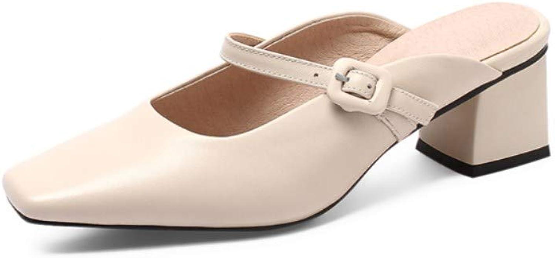 Nine Seven Women's Genuine Leather Closed Square Toe Mid Chunky Heel Handmade Comfortable Back Strap Walking Dress Pumps