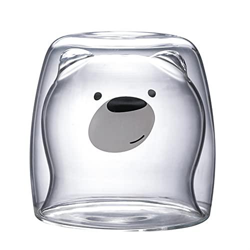KTZAJO Taza de café transparente de silicona de boro doble de 270 ml con diseño de dibujos animados creativos, resistente al calor (color 02)
