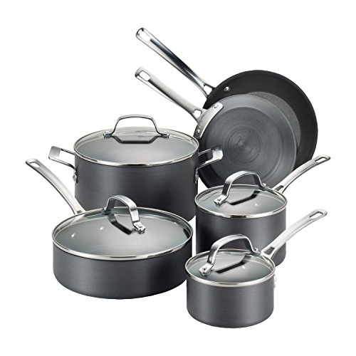 Circulon 83591 Genesis Hard Anodized Nonstick Cookware Pots and Pans Set, 10 Piece, Black Image