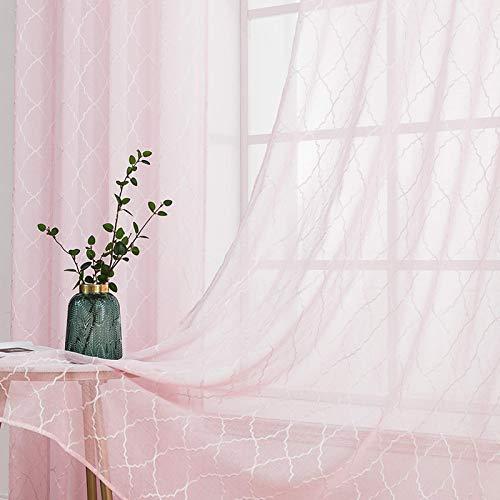 MIULEE 2er Set Voile Marokko Vorhang Sheer mit Ösen Transparente Optik Gardine Ösenschal Wohnzimmer Fensterschal Luftig Lichtdurchlässig Dekoschal für Schlafzimmer 225 x 140cm (H x B) Rosa