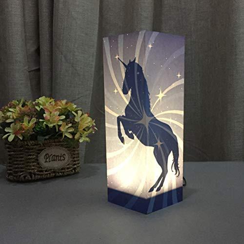 Lámpara de sombra de unicornio con diseño de papel, USB y 3 AAA con batería y interruptor táctil, LED, luz nocturna para niños, dormitorio, sala de estar, café, estantería