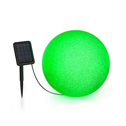 Blumfeldt Shinestone - Solar 40 Kugelleuchte Solarleuchte Außenleuchte Gartenlampe, autark: inkl. Solarpanel mit 2 m Kabel, Größe: Ø 40 cm, LED-Beleuchtung mit 16 Farben, Material: PE, grau meliert