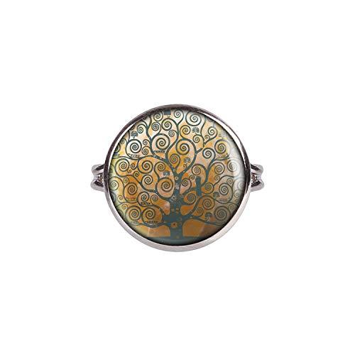Mylery Anillo con Motivo Árbol de la Vida Árbol Mundos-árbol de la Vida de Piedra curativo del Citrino Plata Diferentes tamaños