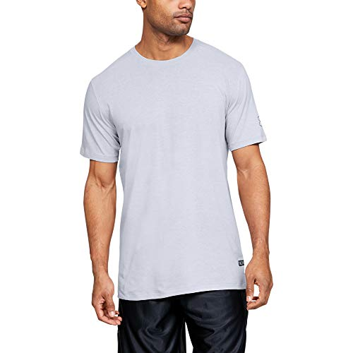 Photo of Under Armour Baseline Short-Sleeve Long Line T-Shirt, Mod Gray Light Heather (011)/Black, Small