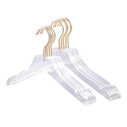 WAYYQX Percha de pared para ropa, 5 piezas, acrílico transparente, con gancho dorado, camisas transparentes para vestir con muescas para niños y niñas