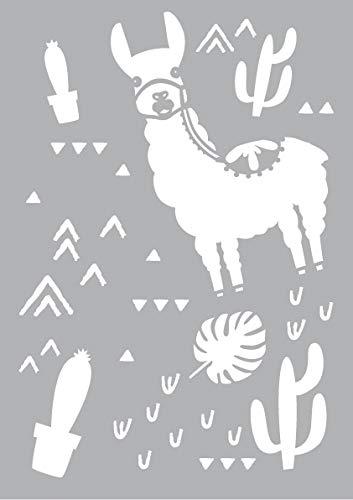 Yart Schablone Lama und Kaktus DIN A5 Format Motivschablone