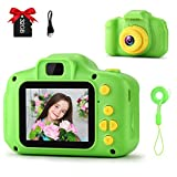 GKTZ 2021 Upgraded Kids Camera Digital Childrens Cameras 2 Inch IPS Screen 12M HD Video Camcorder Toys Birthday Gifts for Boys and Girls Age 3 4 5 6 7 8 with 32GB Micro Memory Card - Green