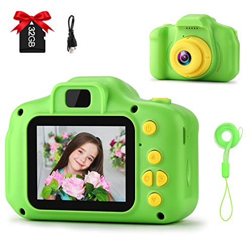 GKTZ 2021 Upgraded Kids Camera Digital Childrens Cameras 2 Inch IPS Screen 12M HD Video Camcorder Toys Birthday Gifts for 3 – 8 Year Old Boys and Girls with 32GB Micro Memory Card - Green
