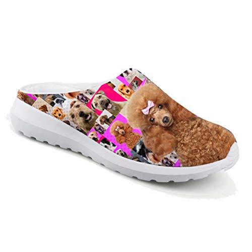 chaqlin Damen-Sandalen mit Tierdruck, leicht, zum Reinschlüpfen, Sommer, Strand, Netz-Hausschuhe mit süßem Mops-Hunde-Muster, Clogs, lässig, zum Spazierengehen, Joggen, Pink - Pudel - Größe: 39 EU