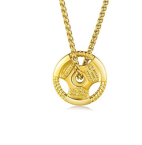 DOLOVE Halskette Edelstahl Herren Gold Lenkrad Anhänger Kette Freundschaftskette Gold
