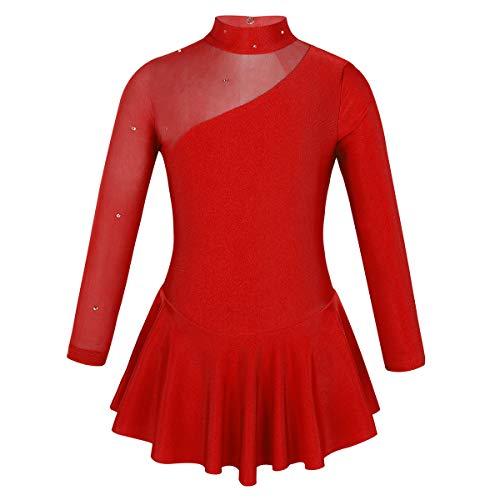 IEFIEL Vestido de Patinaje sobre Hielo para Niña Tutu Leotardo Gimnasia Maillot Ballet Manga Larga Ritmica Artístico Disfraz Bailarina Princesa Rojo 8 años