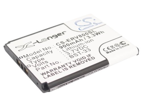 900mAh Battery Replacement for Sony Ericsson C702, C901 Greenheart, C903, F305, G502, P/N BST-33