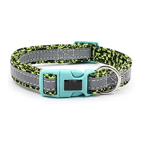 Collar Reflectante para Mascotas Collar de 2 cm de Ancho Collar Ligero y Transpirable Collar Ajustable para Mascotas Collar de Nailon Collar Universal Duradero y cómodo para Perros y Gatos