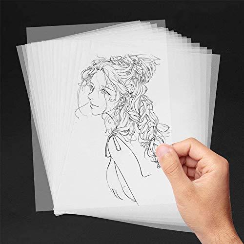 AODOOR Fogli di Carta Trasparente, Carta Lucida DIN A4 Carta Trasparente Alta qualità Bianchi - Disegno, Fai-da-Te, Biglietti di invito,100 Pezzi