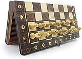 MWKLW Juego de ajedrez magnético de ajedrez Staunton, Juego de ajedrez de ajedrez de Madera súper magnético, Juego de ajedrez de Damas, ajedrez Antiguo, Juego de ajedrez de Viaje
