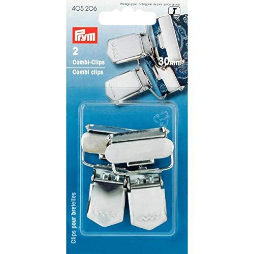 Prym 405206-Morsetto Combinato in Acciaio, Argento, Poliestere, 30 mm, Silver Color, 2 PCS