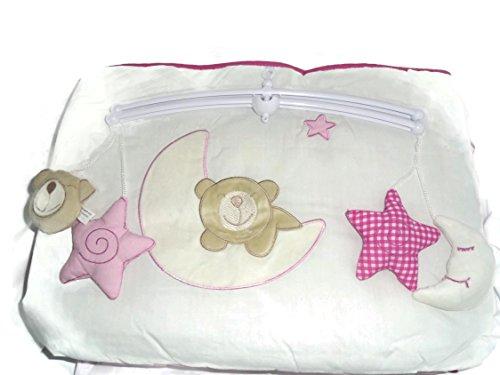 Lot de 4 Mobile musical pour lit enfant/Drap Plat, avec couette et bord Couleur Rose