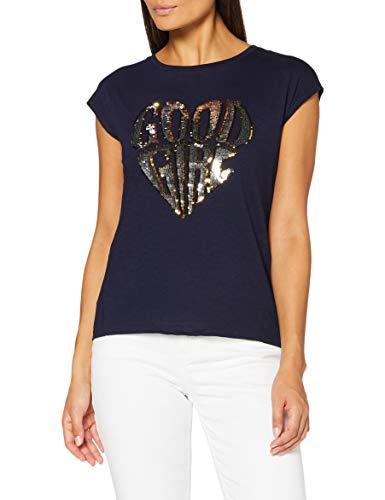 Springfield Camiseta Texto Glitter T-Shirt, Azul, XS Womens