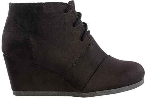 Galaxy Womens Wedge Boots - (Black) - 8