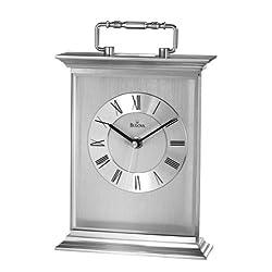 Bulova B7472 Newport Clock, Silver