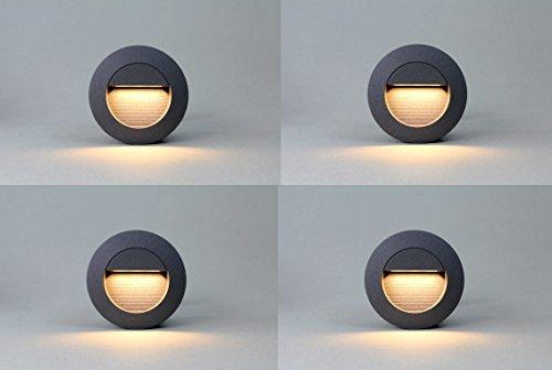 4x 1,2w LED Wandleuchte Stiegen Einbauleuchte Warmweiß Stiegenbeleuchtung für Innen und Außen Stiegenleuchte Treppenlicht IP65 (Anthrazit rund)