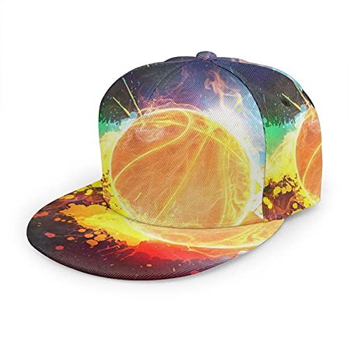 Gorra de béisbol plana 3D Baloncesto Fuego Doodling Color Flat Brim Ajustable Snapback Caps Casual Dad Hat Trucker Sombreros para Hombres Mujeres Negro