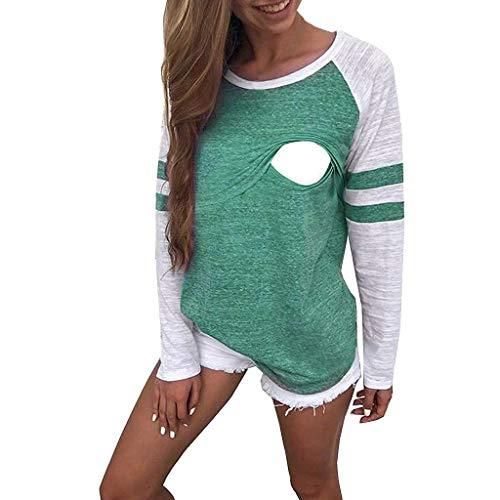 T-Shirt à Manches Longues pour Femme Top Maternité d'allaitement T-Shirt Boutons Cou Tunique Top T-Shirt de maternité Hauts vêtements Grossesse Pullover de Allaitement Sweats (Medium, Violet)
