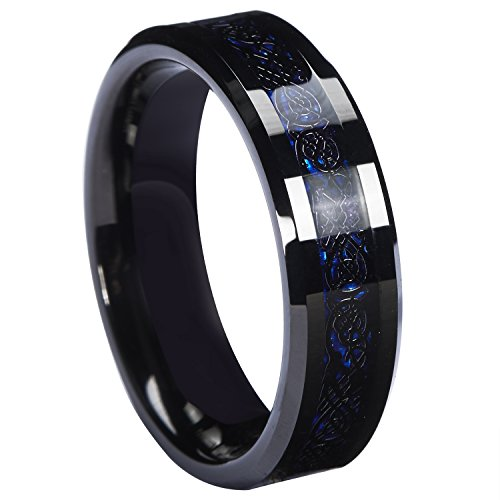 Queenwish 6mm Black Celtic Dragon Tungsten Carbide Ring Blue Carbon Fibre Weddig Band Size 7.5